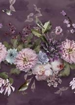 Behang Expresse Floral Utopia INK7552 MIDSUMMER DARK Virágok növények sötérlila zöld világoskék pink bíbor fehér falpanel