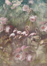 Behang Expresse Floral Utopia INK7553 FLAMINGO FOUND DARK Flamingók dús trópusi virág környezetben zöld törtfehér olívzöld pink púderrózsaszín falpanel