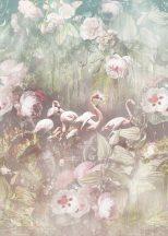 Behang Expresse Floral Utopia INK7554 FLAMINGO FOUND LIGHT Flamingók dús trópusi virág környezetben pezsgőszín zöld menta puderrózsaszín falpanel