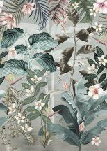 Behang Expresse Floral Utopia INK7555 MAGUFULI PETROL Natur trópusi növények virágok sötétzöld puderrózsaszín fehér sárga falpanel
