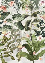 Behang Expresse Floral Utopia INK7556 MAGUFULI GREEN Natur trópusi növények virágok pezsgőszín zöld sötétzöld korall terra falpanel