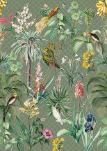 """Behang Expresse Floral Utopia INK7557 TROPICAL WINTER """"tél"""" a trópusokon életkép Art Deco háttéren zöld sötétzöld menta sárga terra falpanel"""