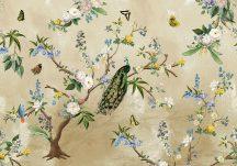 Behang Expresse Floral Utopia INK7559 SECRET GARDEN Natur virágok madarak bézs sárga szines falpanel