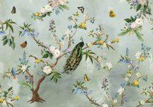 Behang Expresse Floral Utopia INK7560 SECRET GARDEN TURQUOISE Natur virágok madarak világoskék kék sárga falpanel