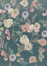 Behang Expresse Floral Utopia INK7561 TEA GARDEN ROMANCE Natur virágba borult teafák világoskék petrol lila rózsaszín fehér falpanel
