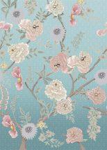 Behang Expresse Floral Utopia INK7562 TEA GARDEN AFTERNOON Natur virágba borult teafák világoskék lila rózsaszín fehér falpanel