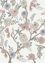 Behang Expresse Floral Utopia INK7563 TEA GARDEN SUNRISE Natur virágba borult teafák fehér sárga szürke világoskék lila rózsaszín falpanel