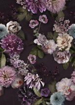 Behang Expresse Floral Utopia INK7565  MAUVE AFTERNOON Natur virágos felnagyított virágok-rózsák barna zöld világoskék rózsaszín mályva falpanel