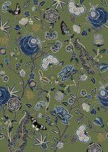 Behang Expresse Floral Utopia INK7570 POMEGRANATE MOSS Organikus gránátalma virágzás mohazöld kék szürke fekete fehér lila falpanel