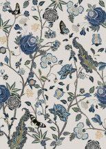 Behang Expresse Floral Utopia INK7571 POMEGRANATE BLUE Organikus gránátalma virágzás fehér kék zöld szürke barna lia falpanel