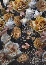 Behang Expresse Floral Utopia INK7572 LUSH HERITAGE DARK Virágos Buja virágörökség fekete sárga rózsaszín fehér falpanel