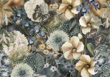 Behang Expresse Floral Utopia INK7576 EDEN BLUES Virágos az éden virágpompája pillangókkal bézs világoskék kék barna falpanel