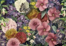 Behang Expresse Floral Utopia INK7577 EDEN COLORS Virágos az éden virágpompája pillangókkal kék lila sárga szines falpanel
