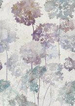 """Behang Expresse Floral Utopia INK7580 HORTENSE COLOR Natur hortenzia """"liget"""" betonfal háttéren szürkésfehér szürke kék lila falpanel"""