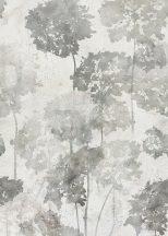"""Behang Expresse Floral Utopia INK7581 HORTENSE GRAY Natur hortenzia """"liget"""" betonfal háttéren szürkésfehér szürke árnyalatok falpanel"""