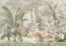 Behang Expresse Floral Utopia INK7588 PONDICHERRY PASTEL Natur Trópusi természeti kép flamingókkal szürke zöld rózsaszín fekete falpanel
