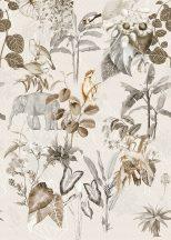 Behang Expresse Floral Utopia INK7590 LUANG PRABANG NEUTRAL Natur laoszi dzsungel életkép elefántokkal fehér szürke bézs barna falpanel