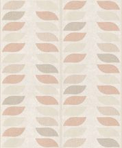 Grandeco Inspiration Wall IW2202 grafikus stilizált levelek krémfehér rózsaszín/lazac bézs barna tapéta