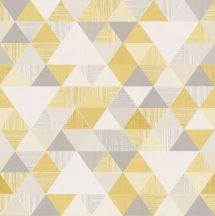 Grandeco Inspiration Wall IW3001 Geometrikus háromszögek fehér szürke aranysárga ezüstszürke tapéta