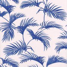 Caselio Jungle JUN100036212  natur trópusi pálmalevelek fehér kék tapéta