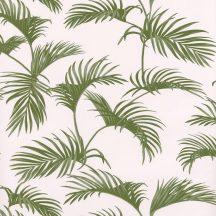 Caselio Jungle JUN100037011  natur trópusi pálmalevelek fehér mohazöld  tapéta