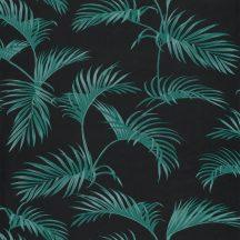 Caselio Jungle JUN100037717  natur trópusi pálmalevelek fekete smaragdzöld tapéta