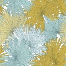 Caselio Jungle JUN100046526 natur kókuszpálma levélzete fehér sárga mentazöld tapéta