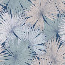 Caselio Jungle JUN100046919 natur kókuszpláma levélzete éjkék mentazöld világoskék tapéta