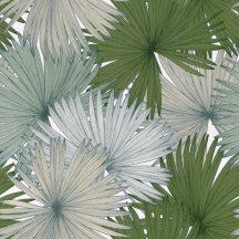Caselio Jungle JUN100047412 natur kókuszpláma levélzete fehér mohazöld kék bézs tapéta