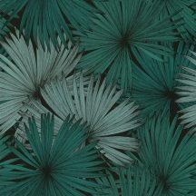 Caselio Jungle JUN100047818 natur kókuszpláma levélzete fekete smaragdzöld tapéta