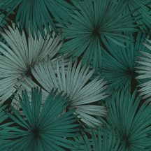 Caselio Jungle JUN100047818 natur kókuszpálma levélzete fekete smaragdzöld tapéta