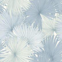 Caselio Jungle JUN100049200 natur kókuszpálma levélzete fehér gyöngyház kékes szürke tapéta