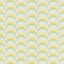 Caselio Jungle JUN100056606 baldachin mentazöld sárga fehér tapéta