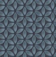 Ugepa Hexagone L52501 grafikus 3D díszítőminta virágszirmok kék fekete ezüst tapéta