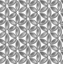 Ugepa Hexagone L52219 grafikus 3D díszítőminta virágszirmokfehér szürke ezüst tapéta