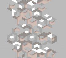 Ugepa Hexagone L57703 3D kockák szürke korall fehér tapéta