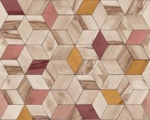 Ugepa Hexagone L59310  geometrikus 3D bézs sárga piros pink/korall  tapéta
