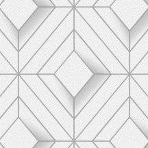 Ugepa Galactik L61400 Geometrikus 3D rombuszok fehér szürke ezüst fémes hatás tapéta