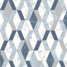 Ugepa Hexagone L63801 3D rombuszok márvány fehér szürke kék ezüst tapéta