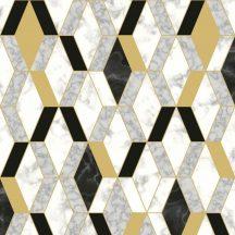 Ugepa Hexagone L63802 3D rombuszok márvány fehér szürke arany fekete tapéta