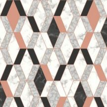 Ugepa Hexagone L63805 3D rombuszok márvány fehér szürke korall/bronz fekete tapéta