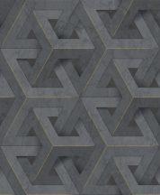 Ugepa ONYX M34709 Geometrikus Grafikus márvány alapmintán változatos háromszögek sötétszürke antracit arany tapéta