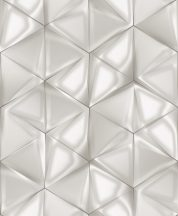 Ugepa ONYX M34900 Geometrikus Grafikus 3D hatszöget formáló háromszögek fehér szürke árnyalatok ezüst tapéta