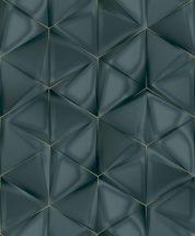 Ugepa ONYX M34901 Geometrikus Grafikus 3D hatszöget formáló háromszögek zöld sötétzöld árnyalatok arany tapéta