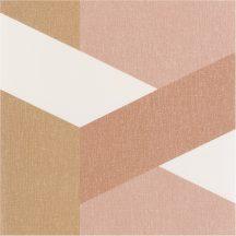 TWIST Geometrikus nagyformátumú minta fehér rózsaszín barna fémes arany tapé