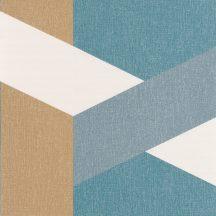 TWIST Geometrikus nagyformátumú minta fehér kék zöldeskék fémes arany tapéta