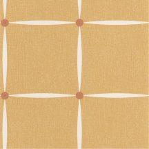 Rácsos formatervezés szalagszerű mintával fehér meleg sárga rózsaszín arany gombokkal tapéta