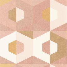 ultramodern megjelenítésű síkidomok krémfehér bézs rózsaszín fémes arany tapéta