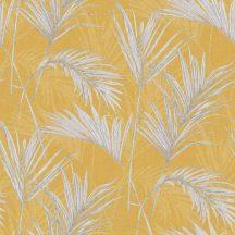 Grandeco MYRIAD MY2001 Natur trópusi pálmalevelek sárga szürke ezüst fémes hatás tapéta