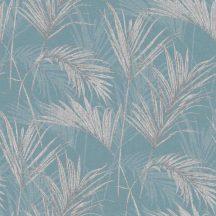 Grandeco MYRIAD MY2002 Natur trópusi pálmalevelek kékszürke ezüst fémes hatás tapéta